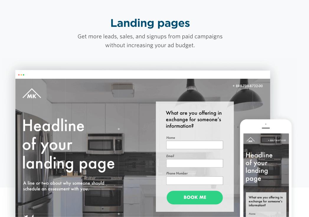 màn hình in từ Unbounce, một công cụ tiếp thị kỹ thuật số hàng đầu